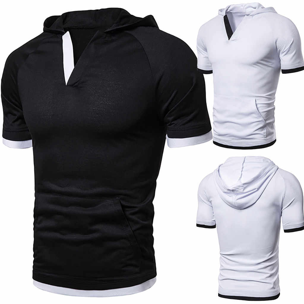 Summer T shirt men harajukuMen's  Casual Solid Hooded Short Sleeve Sports T-shirt V-neckTops Blouse  camisetas hombre dropship