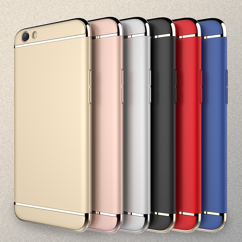 Mobfone case for For OPPO F3 Plus / R9s Plus Plating 3 in 1 Plastic Ultra Thin Slim Matte Back Cover F3 Plus Fundas Coque Capas