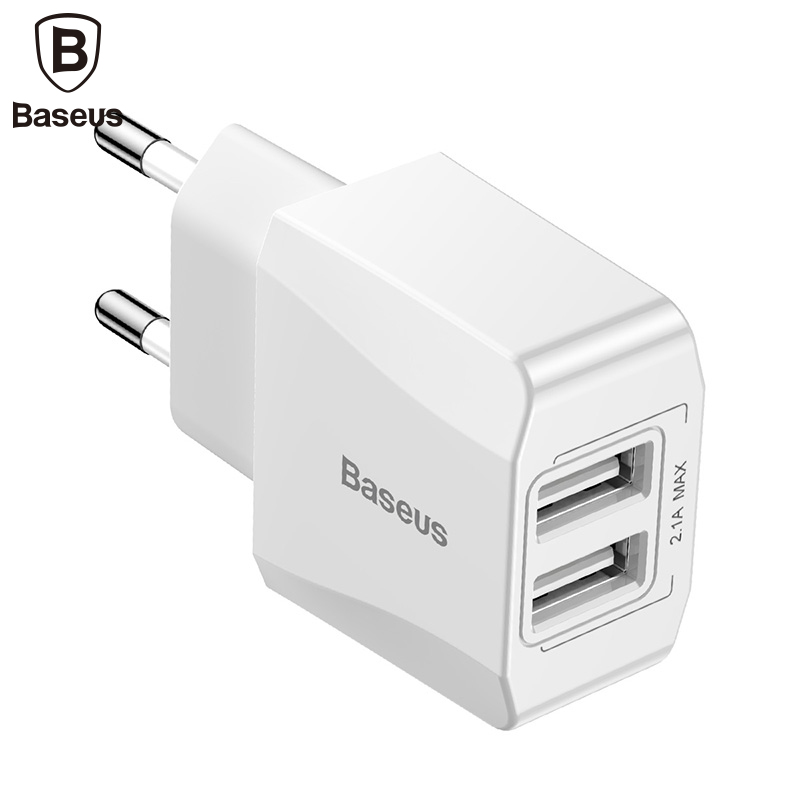 Baseus Dual USB Charger Wall Charger Mobile Phone Charging EU Plug Adapter For IPhone