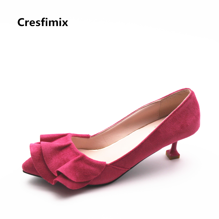 Cresfimix women fashion flock spike 5.5cm high heel red shoes lady cute party suede slip on high heels female comfortable shoes cresfimix women fashion