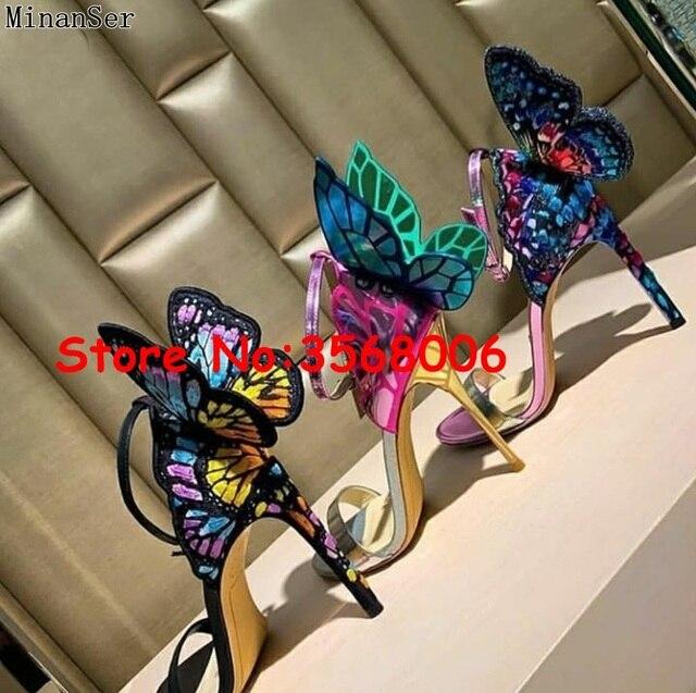 Venta al por mayor, increíbles Sandalias de tacón delgado con punta abierta de mariposa 3D multicolor, zapatos de novia para fiesta de casamiento, sexy, tacones de aguja envolventes al tobillo