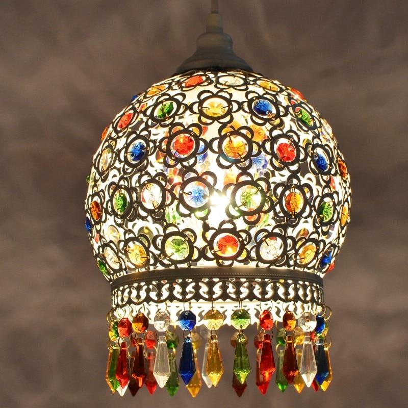 turkish Bohemia Mediterranean restaurant bedroom lamp retro multicolor bronze wrought iron pendant lamp D13