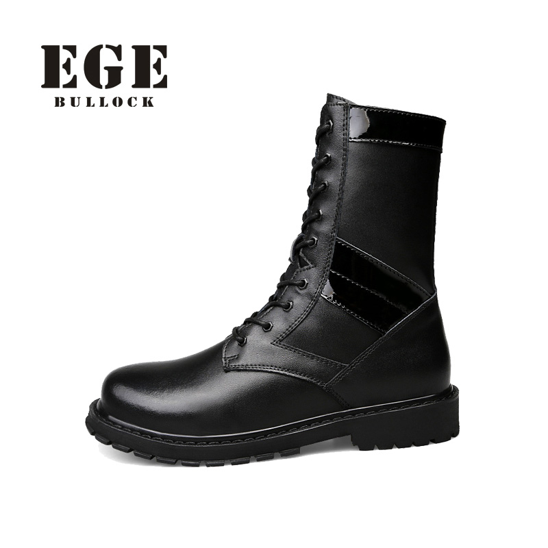 EGE Brand Handmade Genuine Leather Men Wark Winter Warm Boots Solid Round Toe Sewing Lace-Up Mid-Calf Safty Boots For Men 2017 latest men s mid calf boots genuine leather buckle strap round toe men s leather shoes chakku motorcycle boots