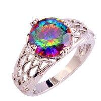Wholesale Splendide Round Cut Rainbow Mystic Sapphire 925 Silver Women Ring Fashion Jewelry Size 6 7 8 9 10 11 12