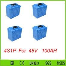 Бесплатная доставка 4 шт. 4S1P высокой скорости lifepo4 12 В 100ah аккумуляторная li-ion аккумулятора инструмент для 48 В 100AH lifepo4 аккумулятор