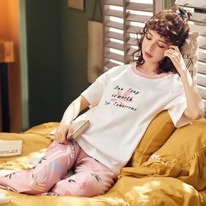 Image 2 - BZEL Conjunto de pijamas nuevos con letras estampadas para mujer, Camisón con estampado de letras, pantalones rosas, para dormir