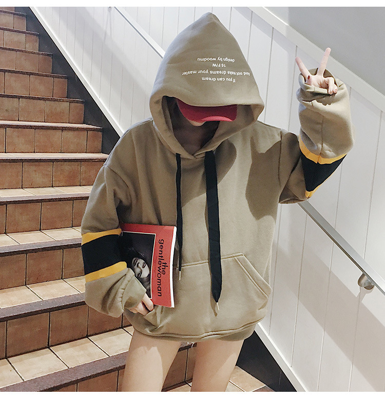Mr nut 2019 spring women 39 s Korean clothing contrast color mosaic hooded lace fleece hooded shirt in Hoodies amp Sweatshirts from Women 39 s Clothing