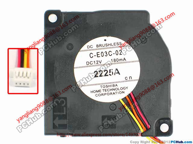 Free Shipping For C-E03C-02 DC 12V 180MA 4-wire 4-pin connector 65mm 45x45x10mm Server Cooling Square fan free shipping for delta afc0612db 9j10r dc 12v 0 45a 60x60x15mm 60mm 3 wire 3 pin connector server square fan