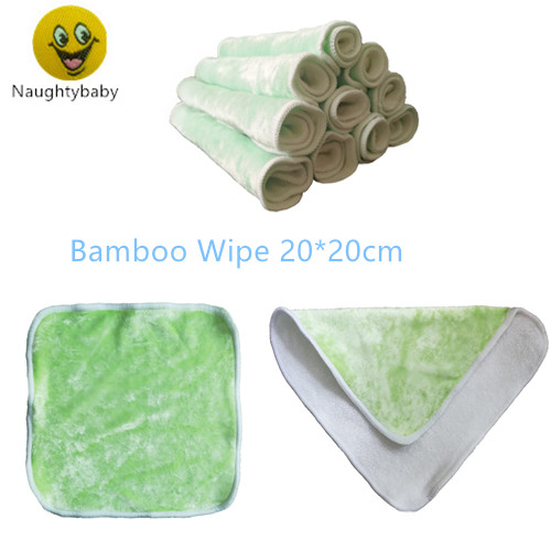 Naughtybaby Bamboo Baby Wipes, Washable Reuseable Saliva Towel Wipes, 20cmx20cm, Pack of 12pcs Cloth Wipes