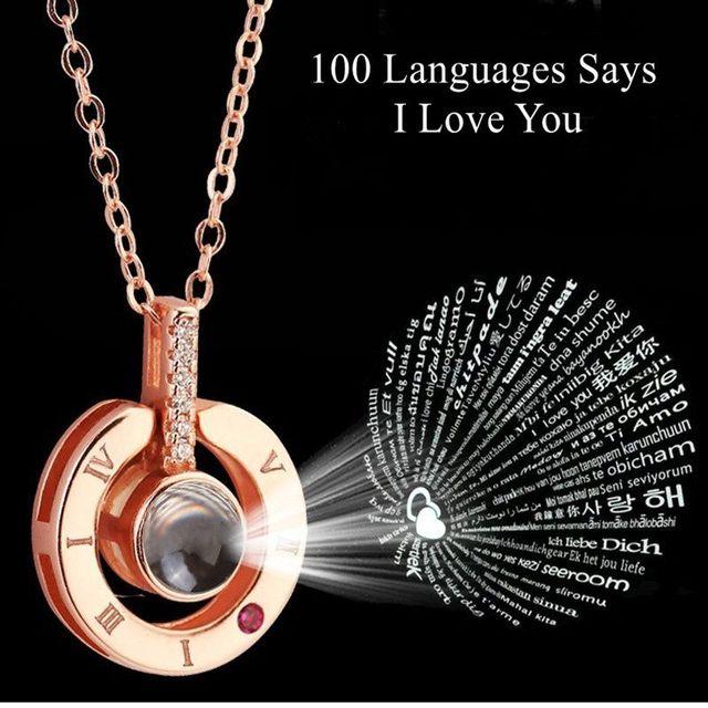 100 שפות אני אוהב אותך הקרנה תליון שרשרת עלה זהב וכסף רומנטי אהבת זיכרון חתונה שרשרת 2019