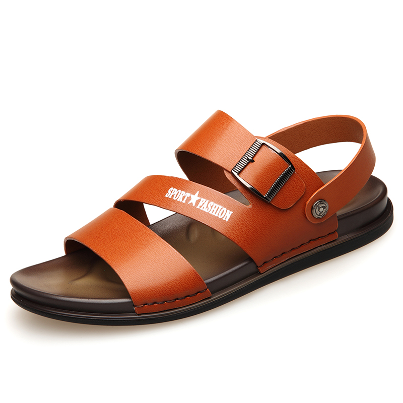 Mens Genuine Leather Casual Sewing Beach Outdoor Sandals Large Size Breathable Slip-on Sandals Shoes DO-0102