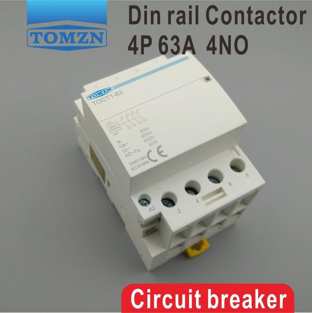 CT1 4P 63A 220V 400V~ 50/60HZ Din rail Household ac Modular contactor 4NO household 4 pole 2no 2nc ac power contactor modular coil ac 400v 63a