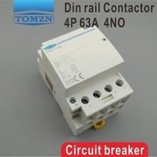 TOCT1 4P 63A 220V 400V ~ 50/60HZ DIN Rail ในครัวเรือน AC Modular CONTACTOR 4NO 2NO 2NC 4NC