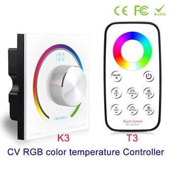 Nowy kontroler obrotowy RGB RGB kontroler panelu RGB RF do montażu na ścianie bezprzewodowy pilot DC 12V 24V do 5050 3528 listwy RGB Led tanie i dobre opinie YJBCo CN (pochodzenie) remote control K3 T3+K3 Free choice of output frequency Kontroler rgb 2years RGB led strips ROHS