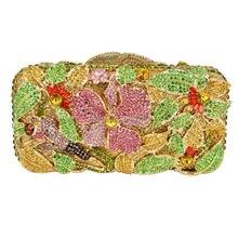 LaiSC Box form abendtaschen Luxury kristall abend handtaschen bunte blume kette hochzeit geldbörse abendessen pochette Kupplung SC75