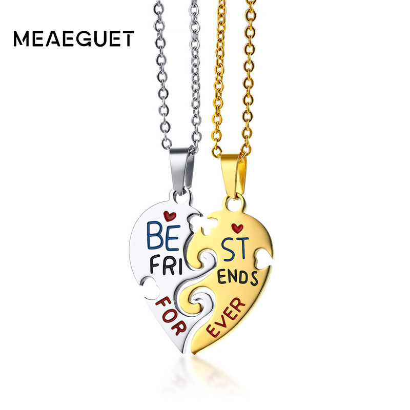 Meaeguet Friendship Necklace For Women Stainless Steel Gold Color Best Friends Gift Puzzle Heart Jewelry For Female 20 Chain yoursfs 18k rose white gold plated letter best mum heart necklace chain best mother s day gift