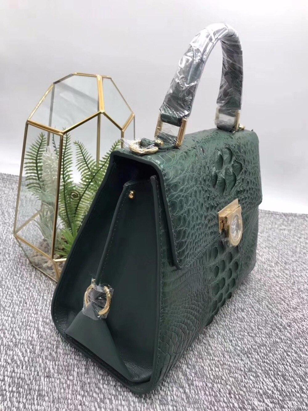 Medium Exotische Metall Frauen Geldbörse Handtasche Designer Hardware Mode Krokodil Weibliche Grün Alligator Dunkle Leder Haut Echtes fCwpng6q