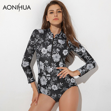 2016 Hot Swimsuit Women Printed Floral Long Sleeve One Piece Vintage Surfing Swimwear Swimmimg Suits Bathing Suit  Swim Wear biseafairy 2017 one piece swimsuit long sleeve swimwear women bathing suit swimsuit print one piece swim suits surfing wear