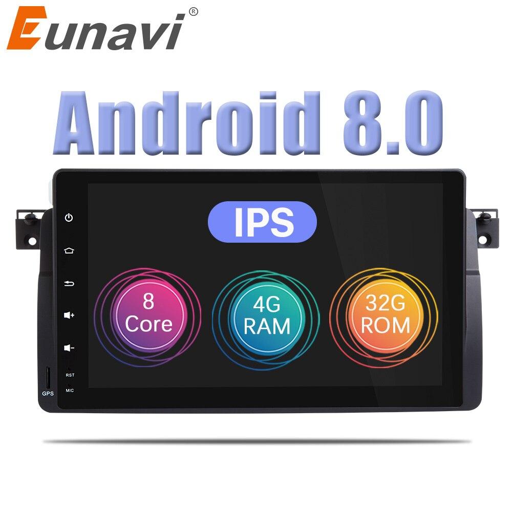 Eunavi Android 8.0 Octa Core 4G RAM 1 din 9'' Car radio for BMW E46 Rover 320 Car Radio DAB M3 3 series Autoradio WIFI Bluetooth seicane 8 core android 8 0 9 1din car radio gps navi for bmw 3 series e46 m3 316i 318i 320i 323i 325i with wifi bluetooth 32g