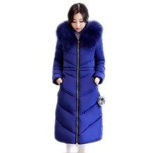 Grande taille 6XL hiver femmes veste 2019 grand col de fourrure hiver manteaux femme Long Parkas épaissir lâche coton-rembourré veste Q920