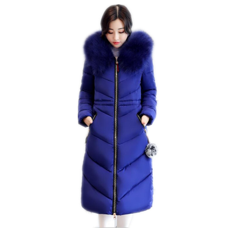 Plus Size 6XL Winter Women Jacket 2018 Large Fur Collar Winter Coats Female Long   Parkas   Thicken Loose Cotton-Padded Jacket Q920