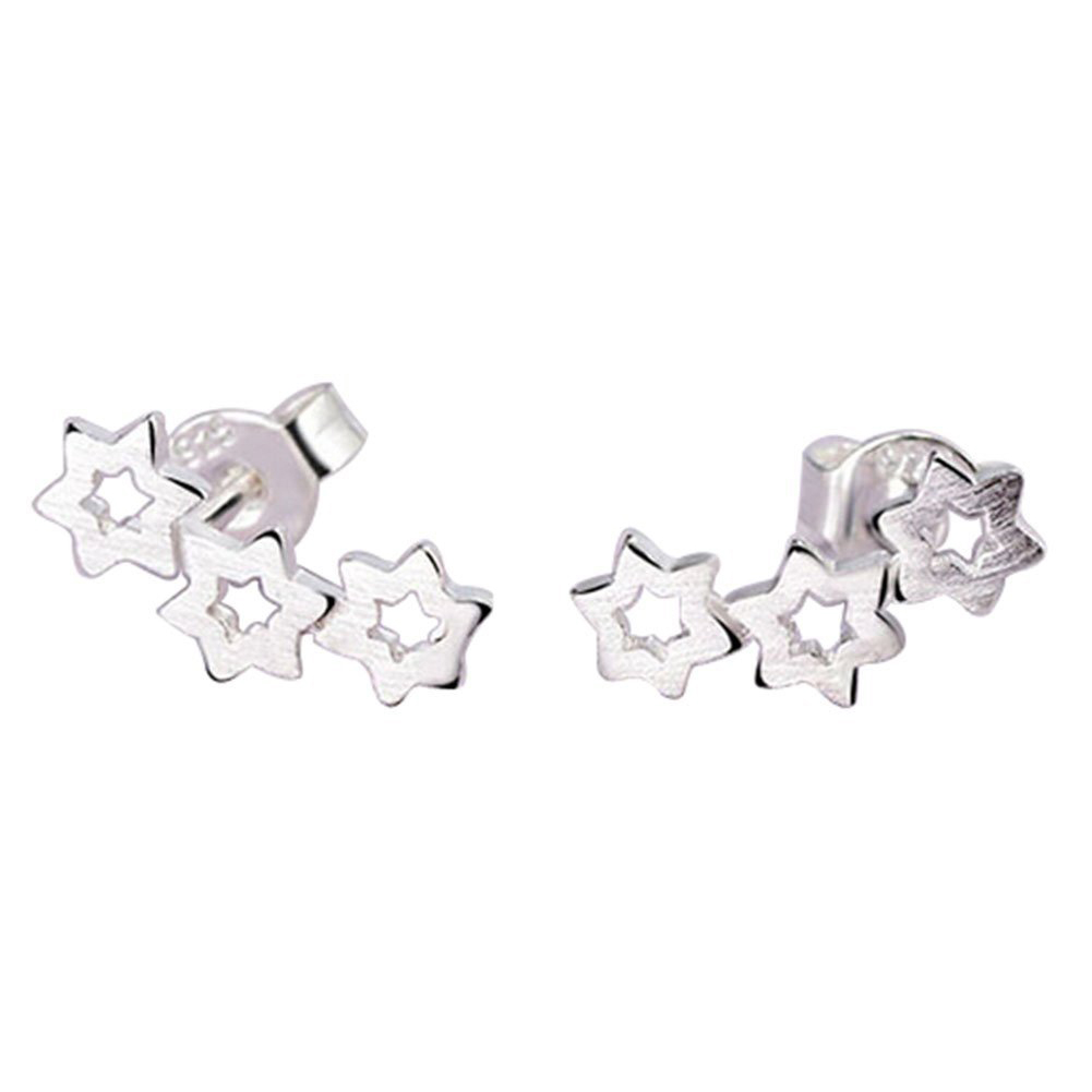 TKOH 1 x Pair Earring Womens Girls Silver Earrings Fashion Cute Crystal Diamond Glittering Stud Earrings Gift