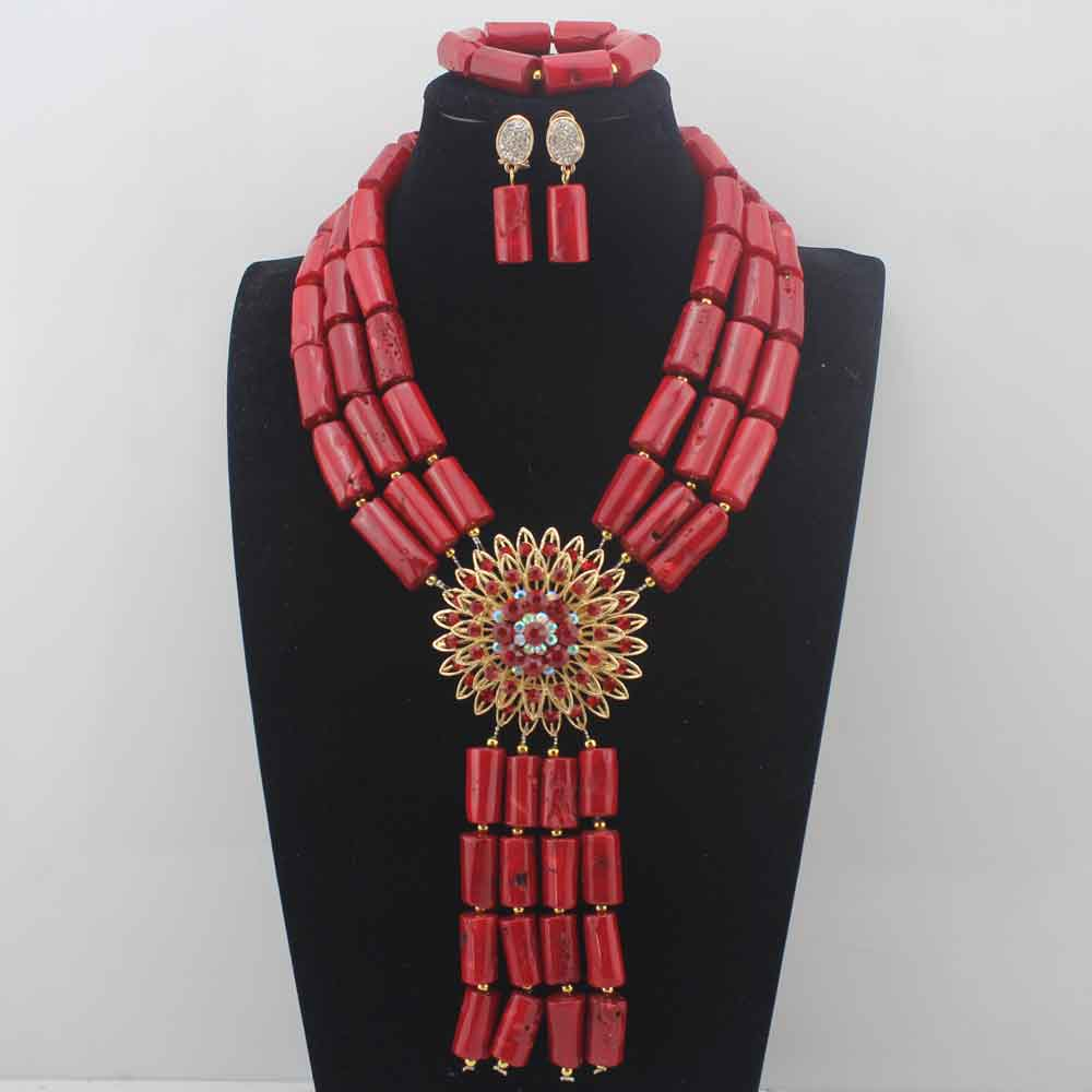 Fashion Red Coral Pendant Necklace Set nigerian Wedding African beads Jewelry Set Bridesmaid Necklace sets W13917 vintage beads crucifix pendant necklace set