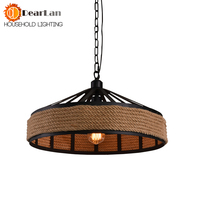 Vintage Iron Wicker Hemp Rope Pendant Lamp Loft/Bar/Warehouse/Coffee House Indoor LED Lighting 110v 240v E27 Pendant Lights