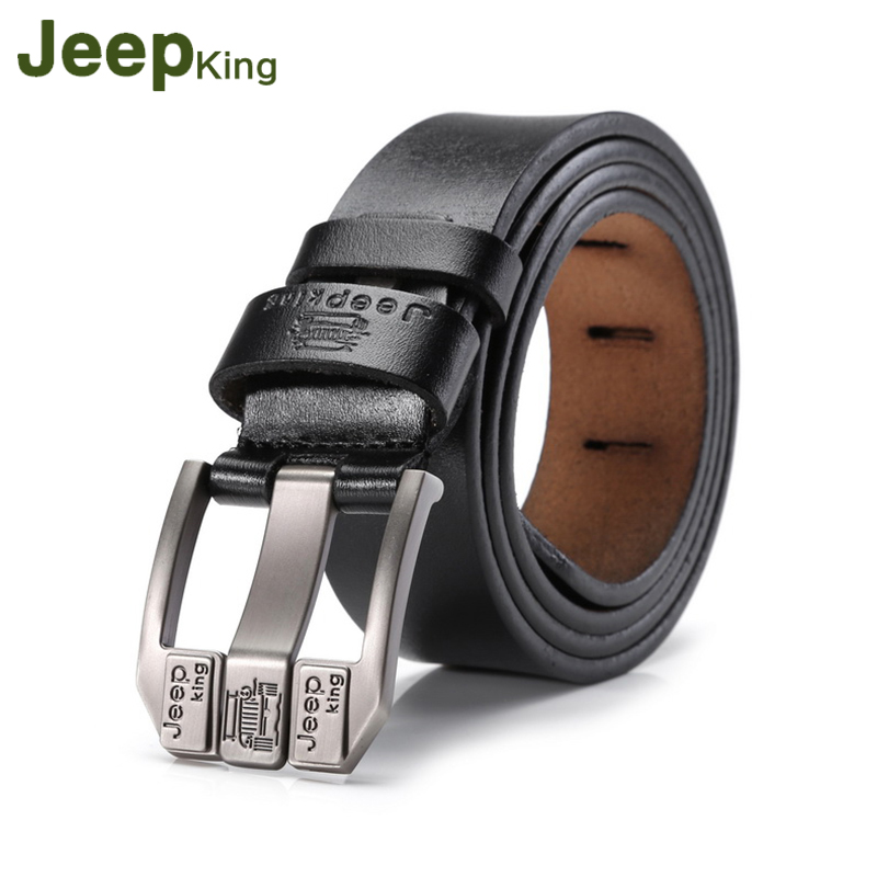 JEEPKING Genuine Cow Leather Men Belts Luxury Brand Strap Male Leather Belt Fashion Pin Buckle Belt