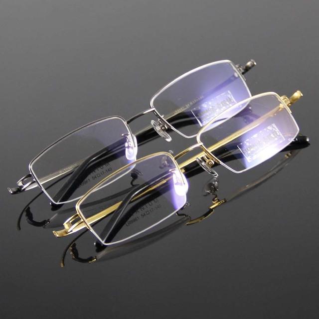 Armações de óculos 100% Óculos De Titânio Homens Mulheres Novo Óculos de Armação Metade Aro Óculos Miopia Óculos de Leitura Prescrição