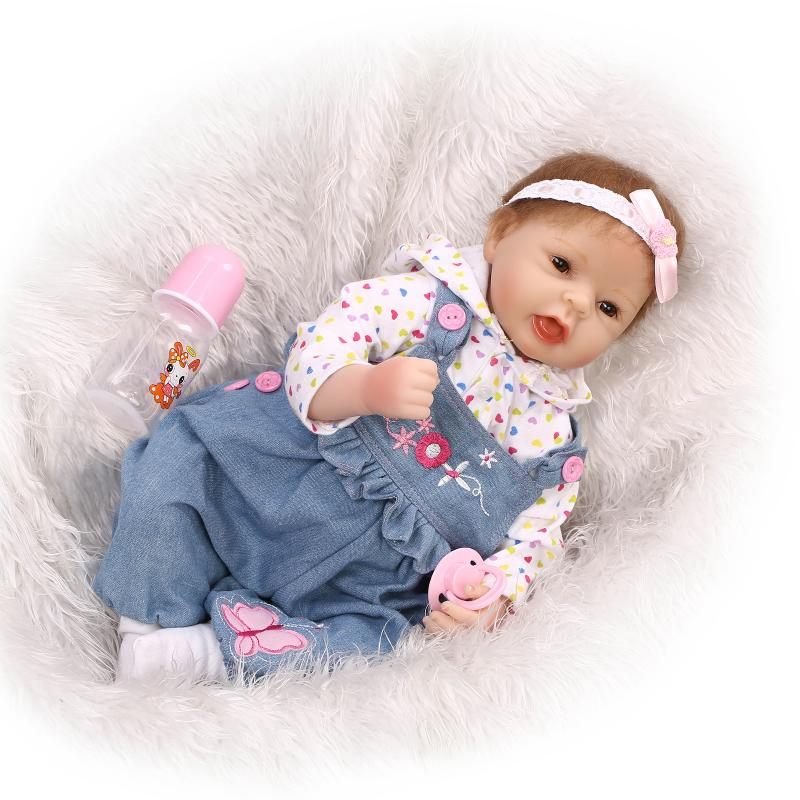 Lovely Dolls Reborn Babies Bonecas Toys for Girls Gift,New Style 19 Inch Silicone Reborn Baby Dolls with Clothes