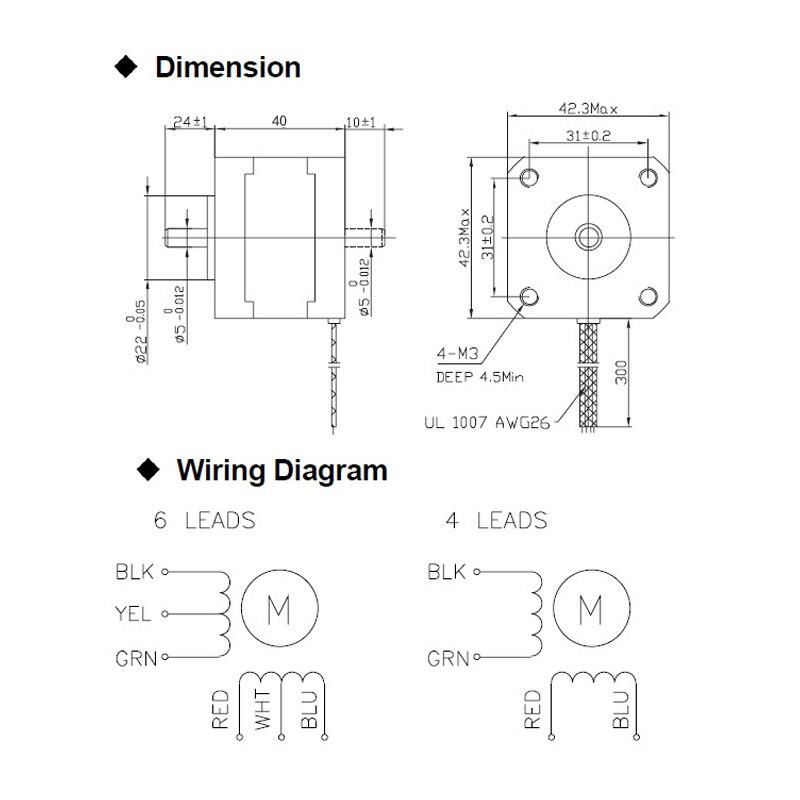 Купить с кэшбэком 40MM High torque 42 Stepper Motor 2 PHASE 4-lead Nema17 motor 42BYGH40 40MM 1.7A 0.45N.M LOW NOISE (17HS2401) for CNC XYZ