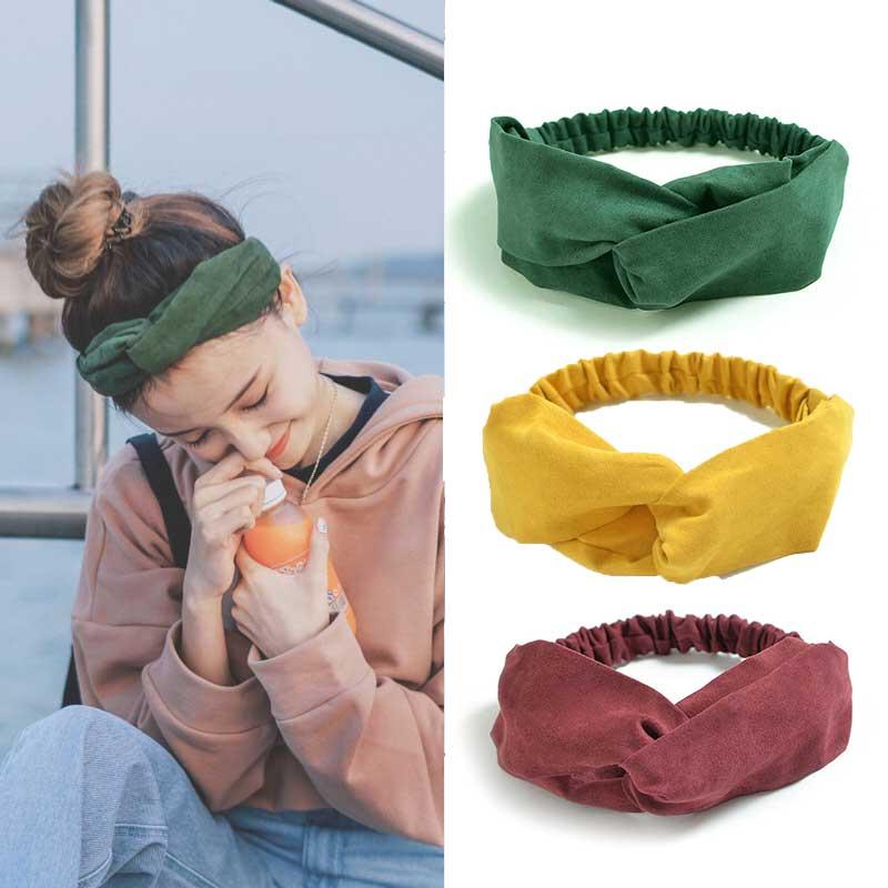 2019 Women Spring Cotton Soft Solid Headbands Vintage Cross Knot Elastic Hairbands Bandanas Girls Hair Bands Hair Accessories
