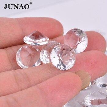 JUNAO 6, 8, 10, 18, 20, 25 мм прозрачный стекло стразы с алмазной окантовкой, украшение из страз, Кристальные камни для рукоделия