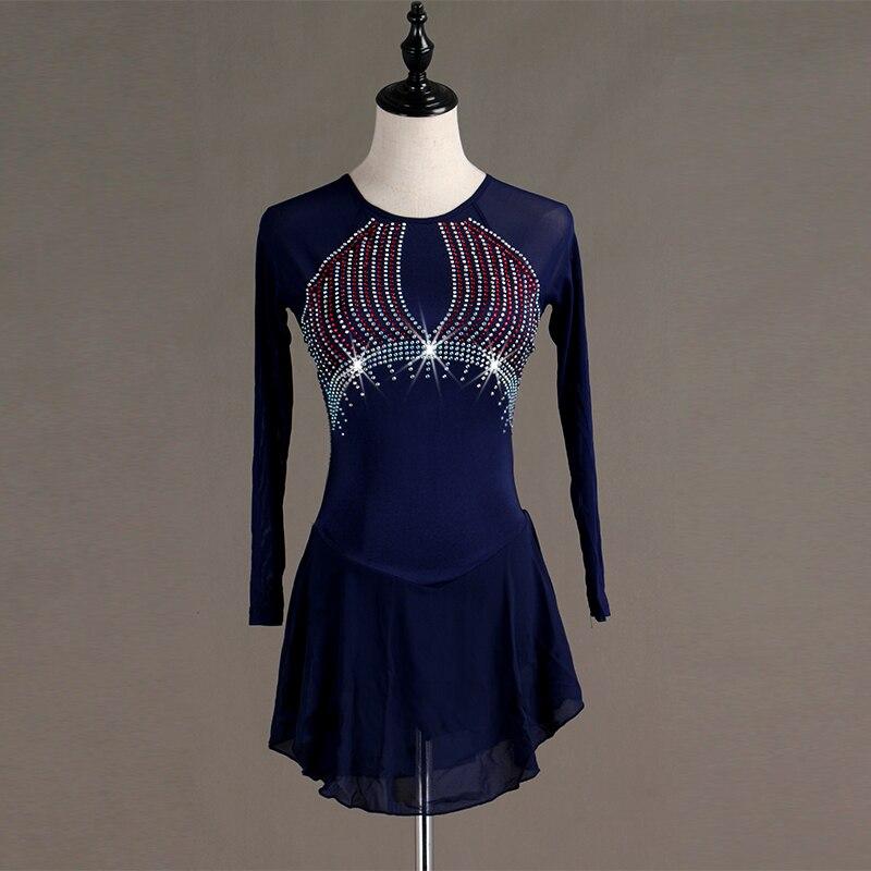 Robe de patinage artistique bleu profond à manches longues haute élastique brillant strass robes de patinage sur glace compétition scène danse porter B027