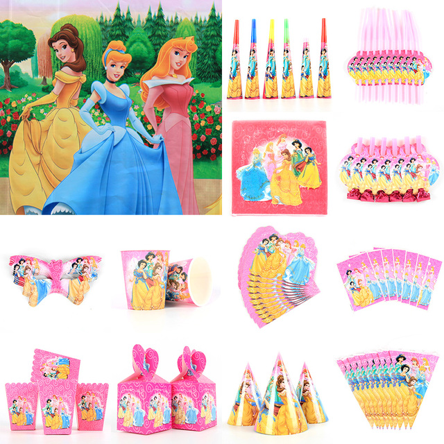 DISNEY Princess Ariel Snow Queen Movie Baby Birthday Party Decorations Kids Girl Supplies Decoration Tableware Set