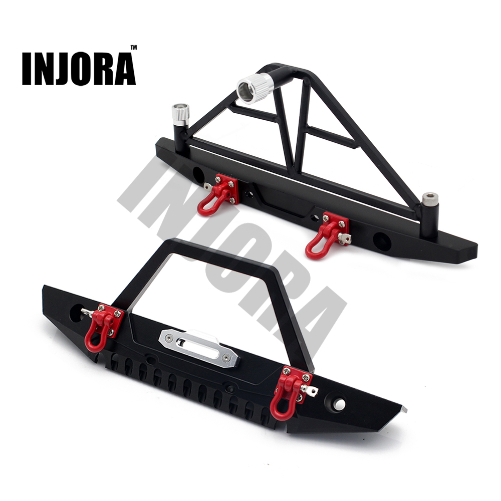 1:10 RC Crawler Metal Front & Rear Bumper with Lights for 1/10 Axial SCX10 90046 RC Car