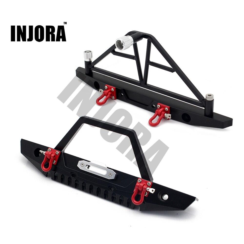 INJORA 1:10 RC Crawler de Metal delantera y trasera parachoques con luces para 1/10 Axial SCX10 90046 coche RC