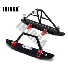 INJORA parachoques delantero y trasero de Metal con luces para coche de control remoto, escala 1:10, para Axial SCX10 1/10 90046