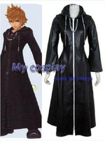 Anime Kingdom Hearts Organization XIII Roxas cosplay costume for Halloween Cosplay parties Men Leather Coat Zipper Cloak Black