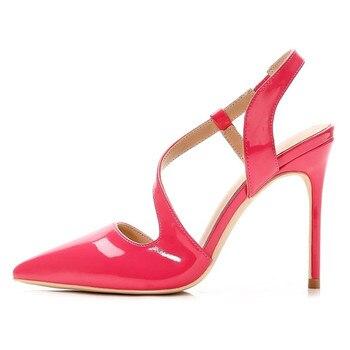 Free shipping fashion women Pumps lady neon Fuchsia s-strappy Pointy toe high heels shoes size33-43 10cm 8cm Stiletto bride