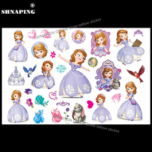 SHNAPIGN Princess Sofia The First Child Temporary Tattoo Body Art Flash Tattoo Stickers 17x10cm Waterproof Styling Tatoo Sticker
