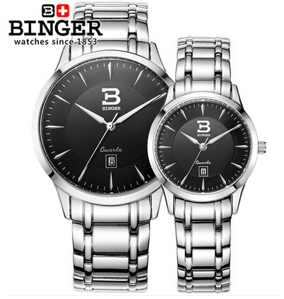 Brand Binger Luxury Black Classic Couple Lover Women Men Quartz Full Stainless Steel Wrist Watch Waterproof