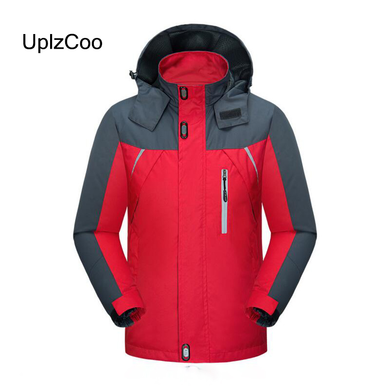 UplzCoo 2019 Jacket Waterproof Windproof Spring Autumn Hooded Coat Men's Jackets Solid Casual Mountaineering Outwear 4XL FM 122(China)