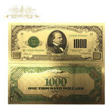 10pcs/lot Colorful 24K Gold Banknote USD 1000 Dollar Fake Money .999 America Bill for Souvenir Gift