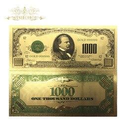 10 шт./лот красочная 24-каратная Золотая банкнота $1000 доллар банкнота поддельные деньги. 999 американская банкнота для сувенирного подарка