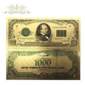 10 шт./лот, цветные 24 к золотые банкноты 1000 долларов США, поддельные деньги 999 американских банкнот для сувенирного подарка