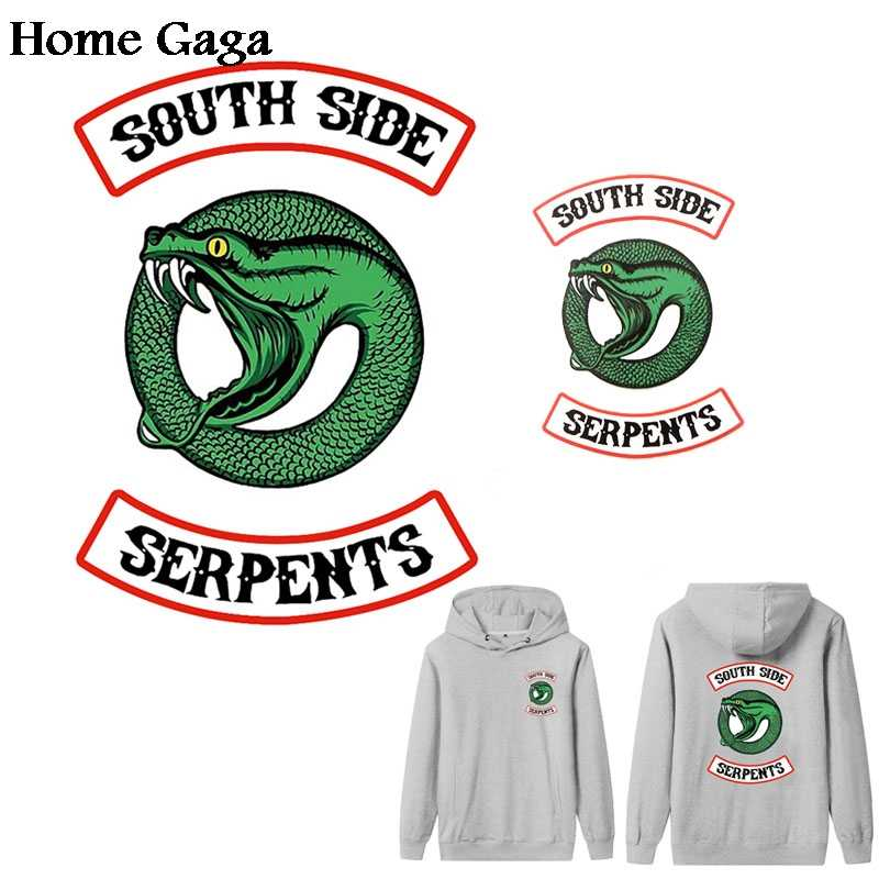 Homegaga 2pcs Riverdale south side serpents snake heat press transfer sticker iron on patches clothes t shirt diy transfer D1780
