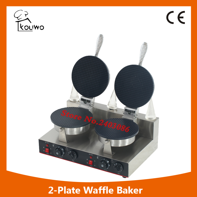 2pcs Commercial Electric Round ice cream cone machine cone maker waffle machine Baker Iron Toaster Making Machine CE approved square pan rolled fried ice cream making machine snack machinery
