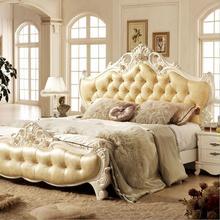Современная Европейская твердая деревянная кровать модная резная кожаная французская мебель для спальни 10010